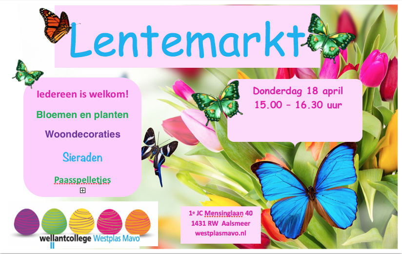 Lentemarkt Westplas Mavo donderdag 18 april